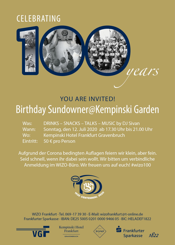 Einladung zum Birthday Sundowner@Kempinski Garden