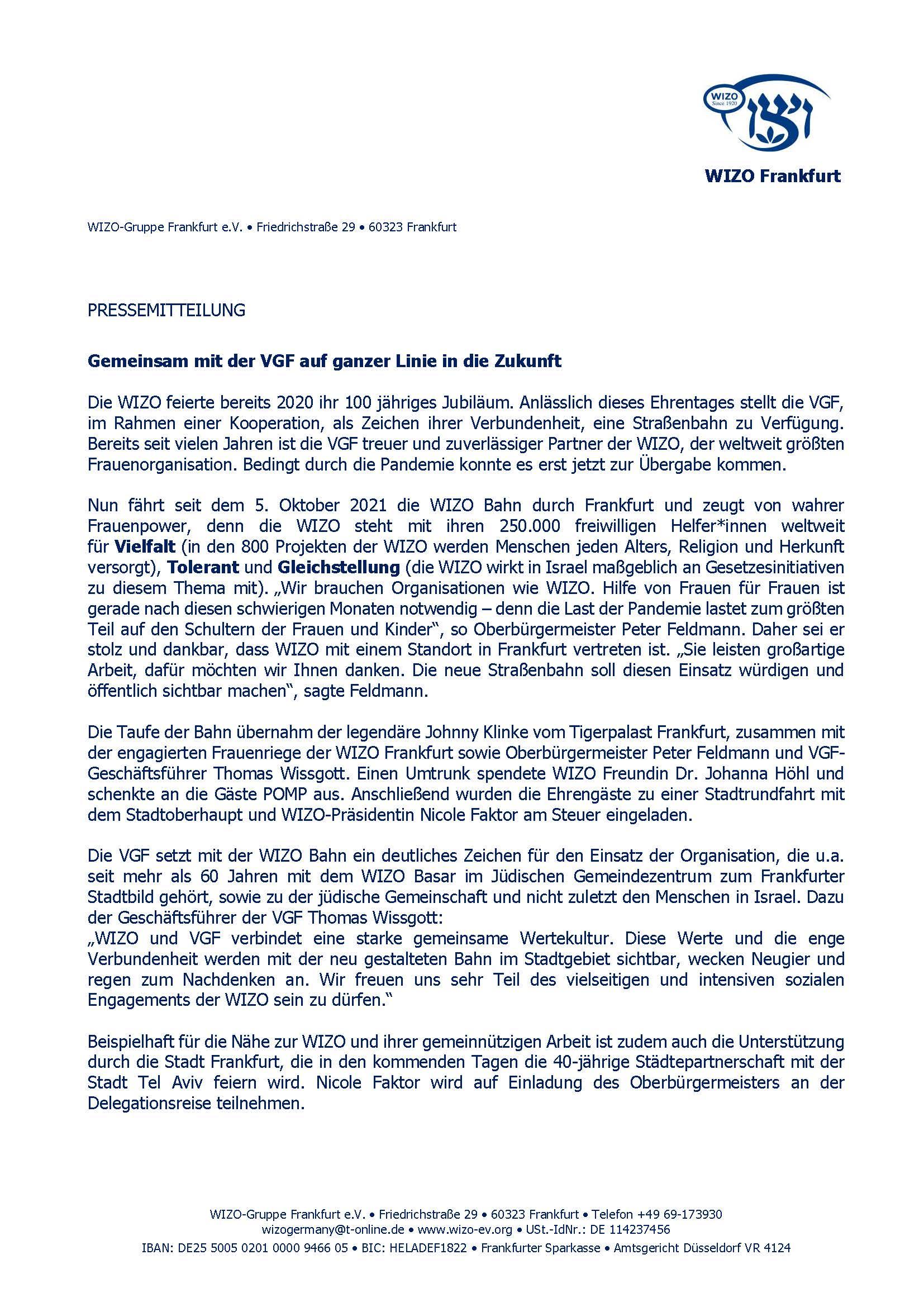 Pressemitteilung für WIZO Bahn